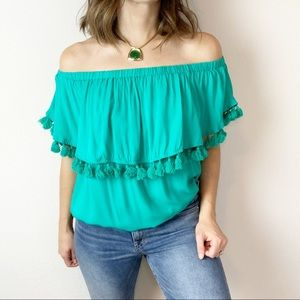Gianni Bini green off the shoulder tiered top